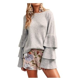 Sweaters - Gray Tiered Ruffle Bell Sleeve Sweater